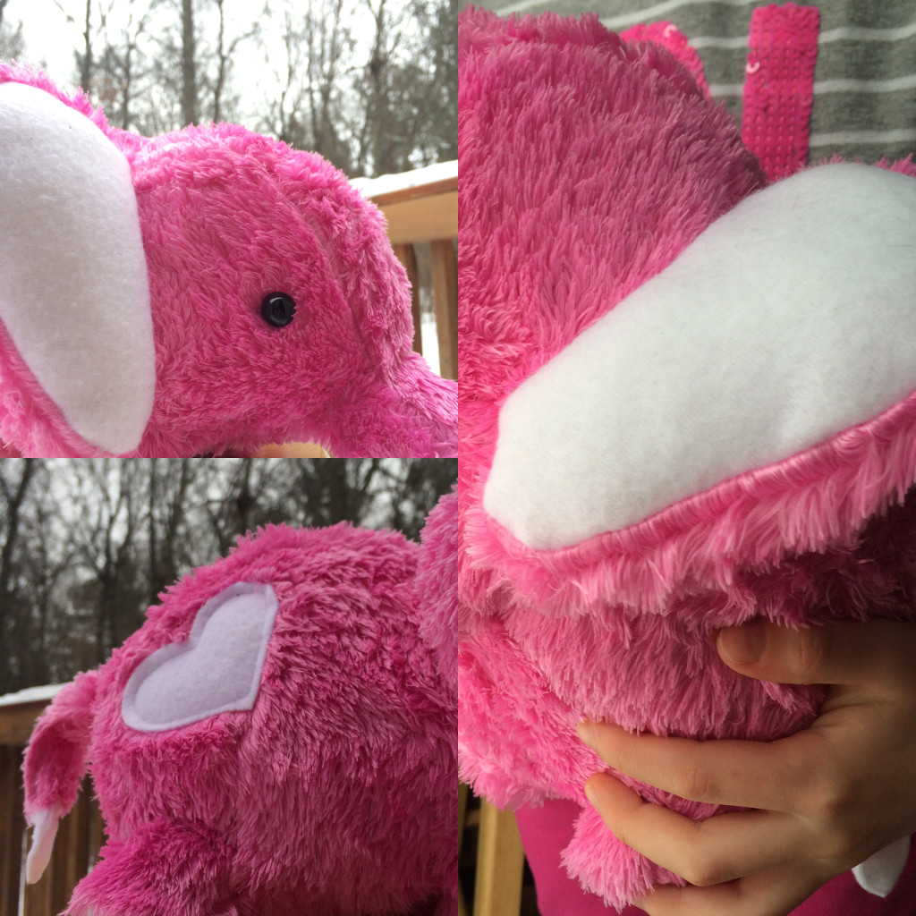 Georgia's Elephant: Pink Faux Fur and White Fleece with button eyes because there was no way I was going to work that fur more than I had to.