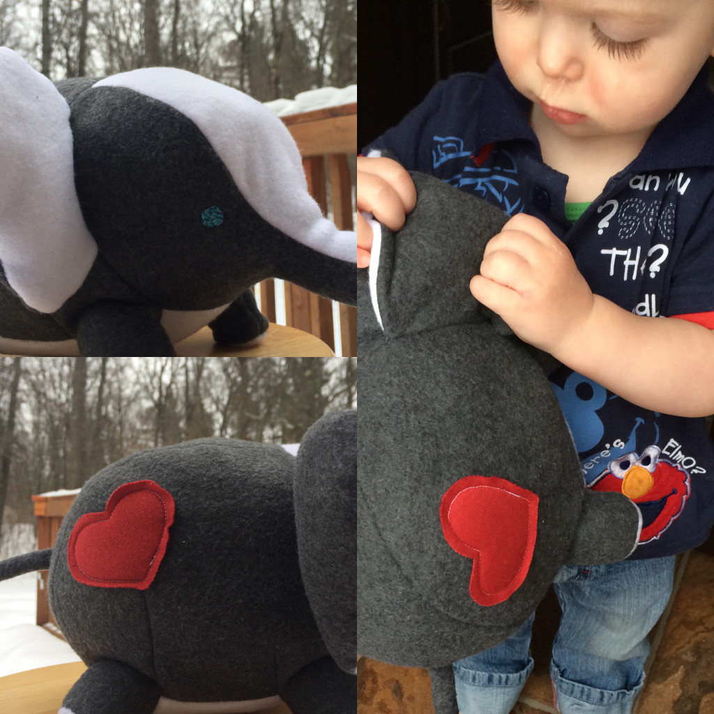 Mickey's Elephant: gray and white fleece with hand embroidered eyes in case he gets a taste for eyeballs as toddlers often do (sorry about the snot nose, daycare decided to give him RSV and an ear infection for Vday)